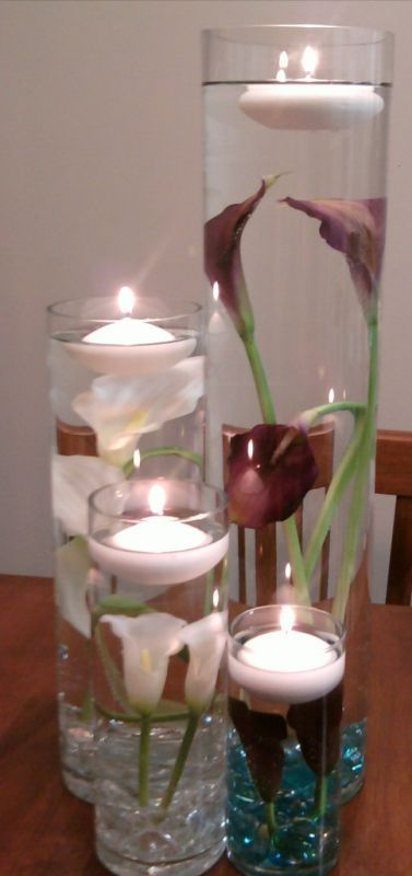 Submerged Calla Lilies Wedding Centerpiece Cylinder Vase Purple Real Touch Reception Silver L