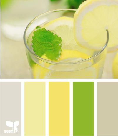Paleta de colores, verde lima y amarillo limón con un toque de gris muy alegre combinación!