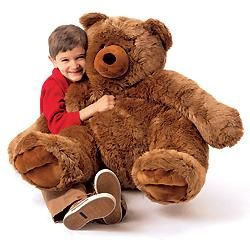 "Jumbo Teddy Bear at FlagHouse - You get over 3' of cozy, cuddly, soft-to-the-touch teddy! Non-threatening oversized bear provides gentle tactile input. A guaranteed favorite. Sitting 30""H x 30""W x 27""D."
