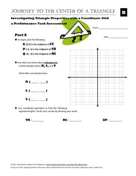 I use this performance task assessment at the conclusion of our unit on triangle properties. Ultimately the unit is about making strategic use of mathematical tools, an idea that is explored through the following content items:* Perpendicular bisectors and angle bisectors.* Triangle medians and midsegments.* Triangle centers: circumcenter, incenter, orthocenter, centroid.* Geometric constructions: compass & straightedge, paper folding, geometry software, and coordinate geometry.This…
