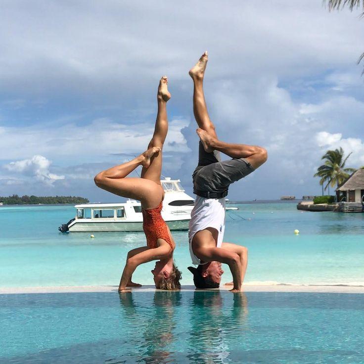 M A L D I V E S . . Falling more and more in love with this island Today we went to see dolphins in a wild did some paddle boarding and snorkeling in the morning. AMAZING! . . . #maldivesislands #holidayinn #anastasiaskukhtorova #martincoops #kandooma #maldives #poledancer #poledancersofig #yoga #yogapose #headstand #infinitypool