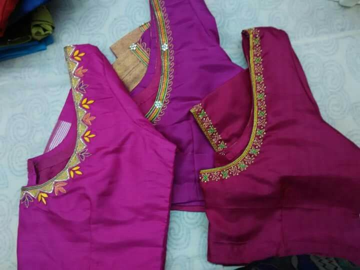 Simple Thread Work Heavy Maggam Work Blouses Blouse Designs