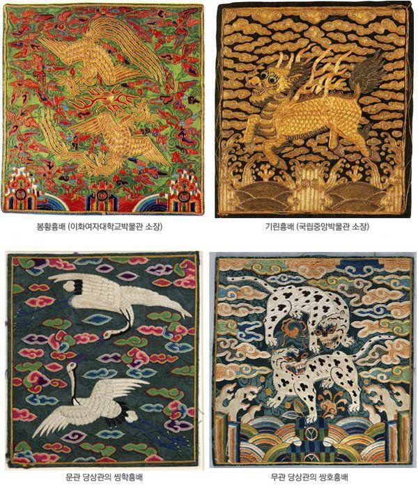 조선 시대의 흉배는 1454년(단종 2)에 처음 그 제도가 정비되었으며, 문관은 학 등의 날짐승, 무관은 호랑이 등의 길짐승 문양을 주로 사용했습니다. 흉배의 크기는 전기에는 크지만 후대로 갈수록 작아집니다.