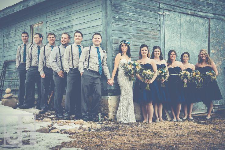 Rustic Wedding.  Wedding Party photos. Blue and grey wedding.