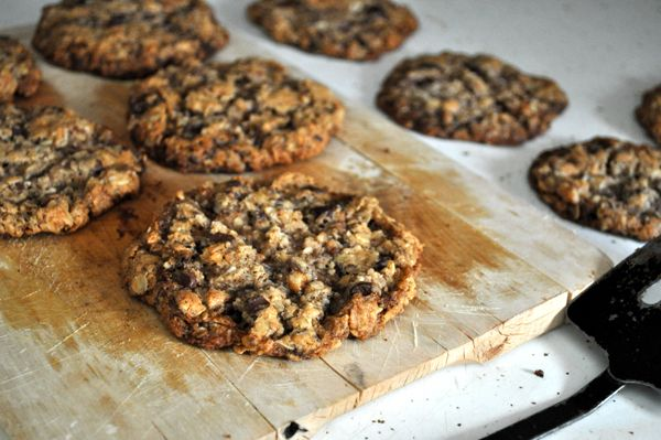 vegan cowboy cookies (chocolate, pecans, coconut, oats, cinnamon...)