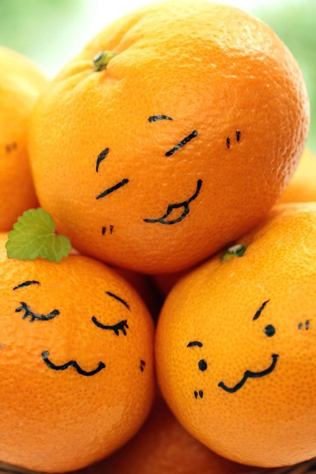 Draw on fruit! Take a orange, then Get a marker (any color... i suggest a darker color marker) and draw on it  Photo Credit: ? Pic from Google.com