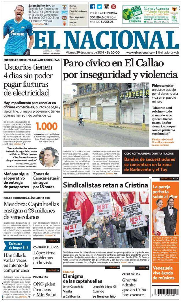 Portada Diario @elnacionalweb  Viernes 28/08/2014 #Titulares #Noticias #Prensa #PrimeraPagina #DesayunoInformativo