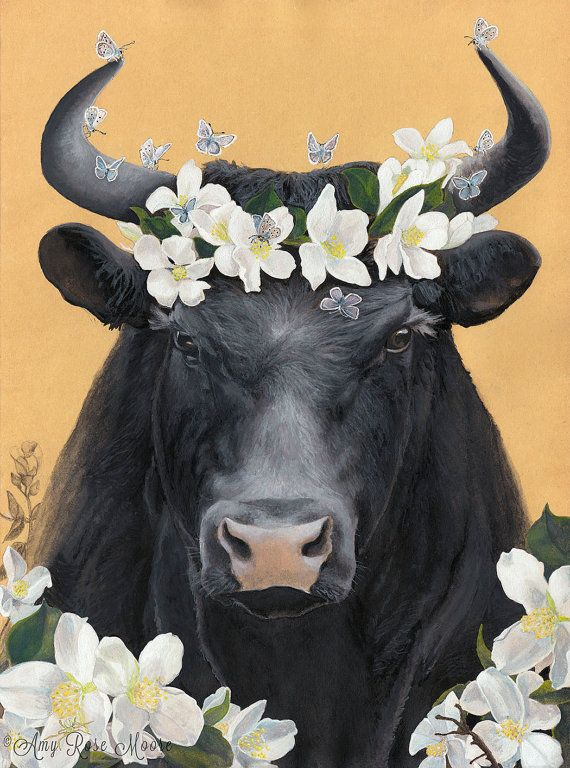 Ferdinand the Bull and his flowers  8x10  by amyrosemoore on Etsy