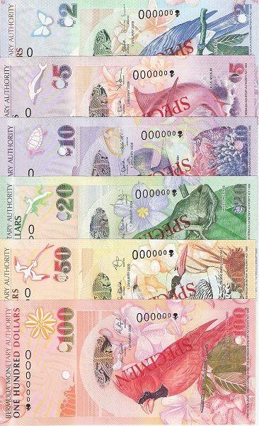 Bermuda 2-50 Dollars UNC Specimen Bank Note Set