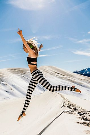 Namaste Leggings | Free People Striped heavy-knit activewear legging with Picot Performance open heels and rollover waist detailing.