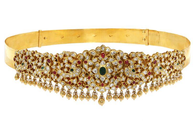 C. Krishniah Chetty gold waist belt set with uncut diamonds, rubies, emerald and pearls.