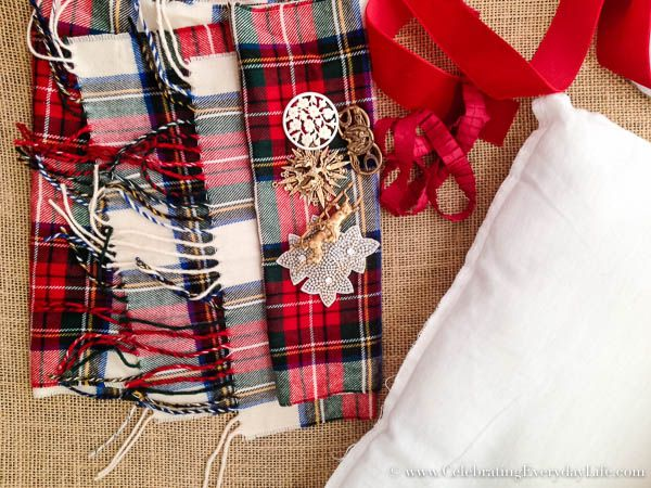 Supplies to make a scarf pillow, How To Make A Pillow Case From A Scarf, Plaid Scarf Pillow Case DIY, Make a pillow from a scarf, Christmas Pillow DIY, Celebrating Everyday Life with Jennifer Carroll