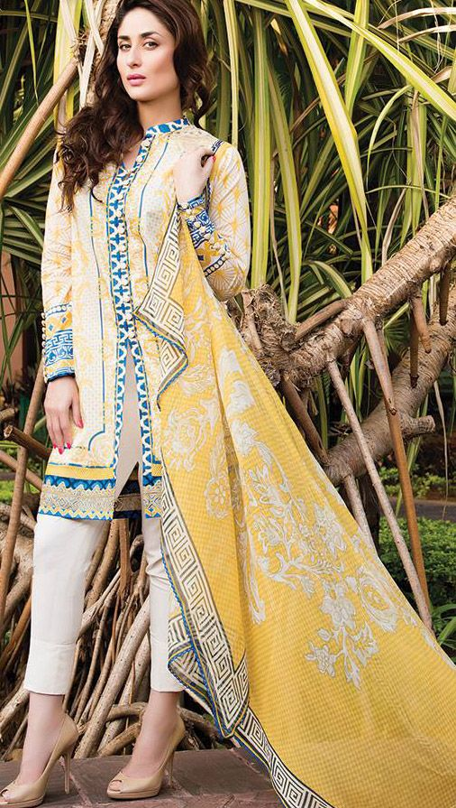 Buy Lemon/Off-White Embroidered Cotton Lawn Dress by Cresent Lawn 2015 Collection.