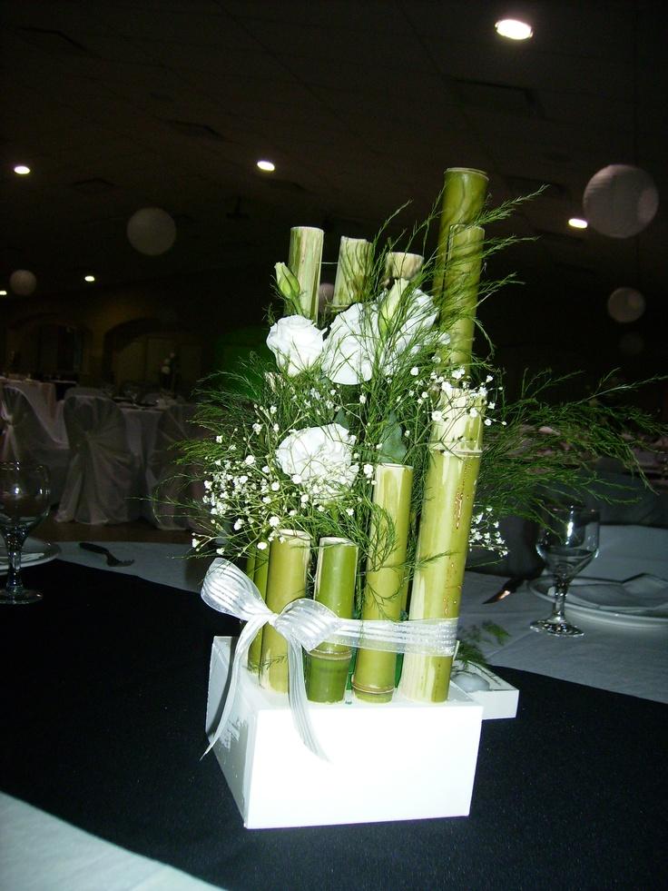 Centro de mesa bamboo arreglos florales pinterest - Centros mesa salon ...