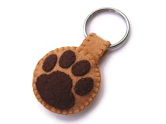 Felt pawprint keychain brown paw key ring plush cat by PeachPod, $6.00