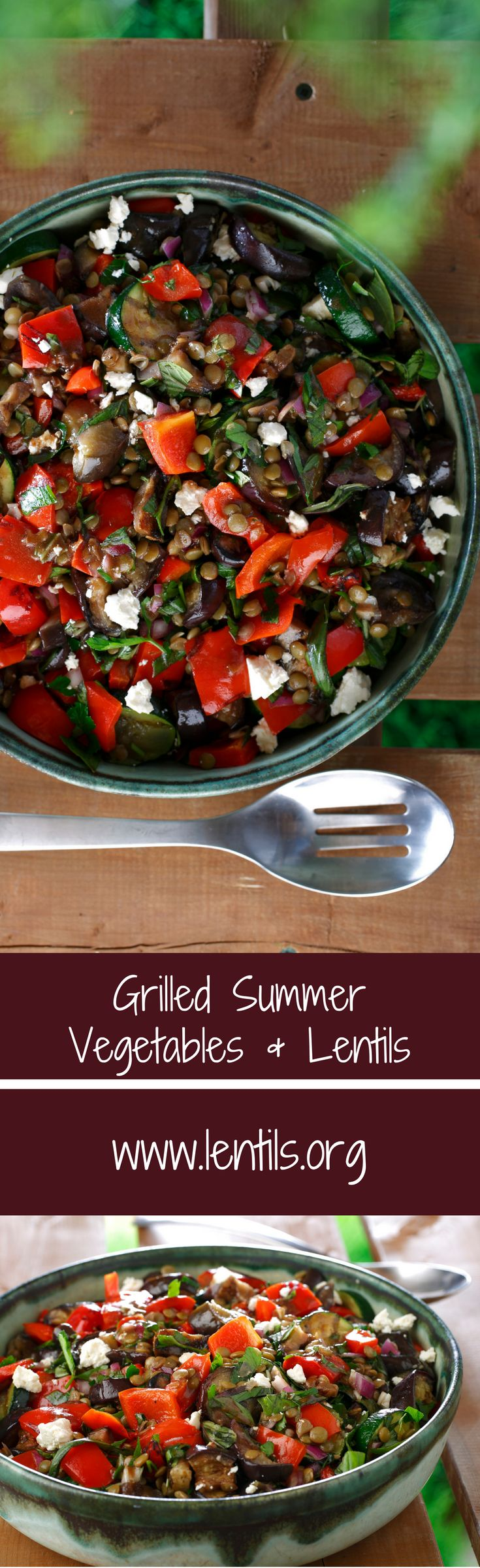 Make the most of garden bounty with grilled vegetables and lentils. Served warm, it is a lovely side dish for a backyard barbecue.
