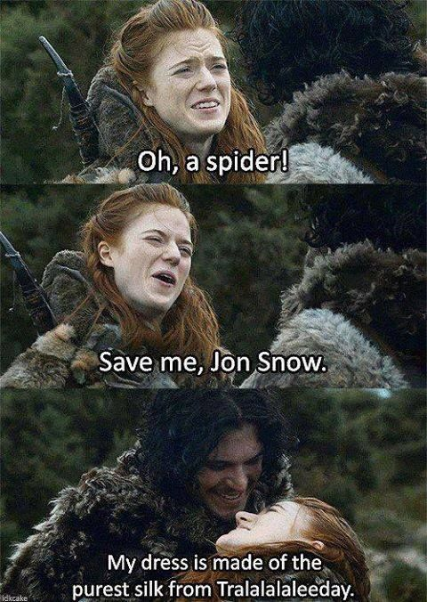 Ygritte being very funny. loved this scene... and then it broke my heart because I remembered Jon and Ygritte's fate