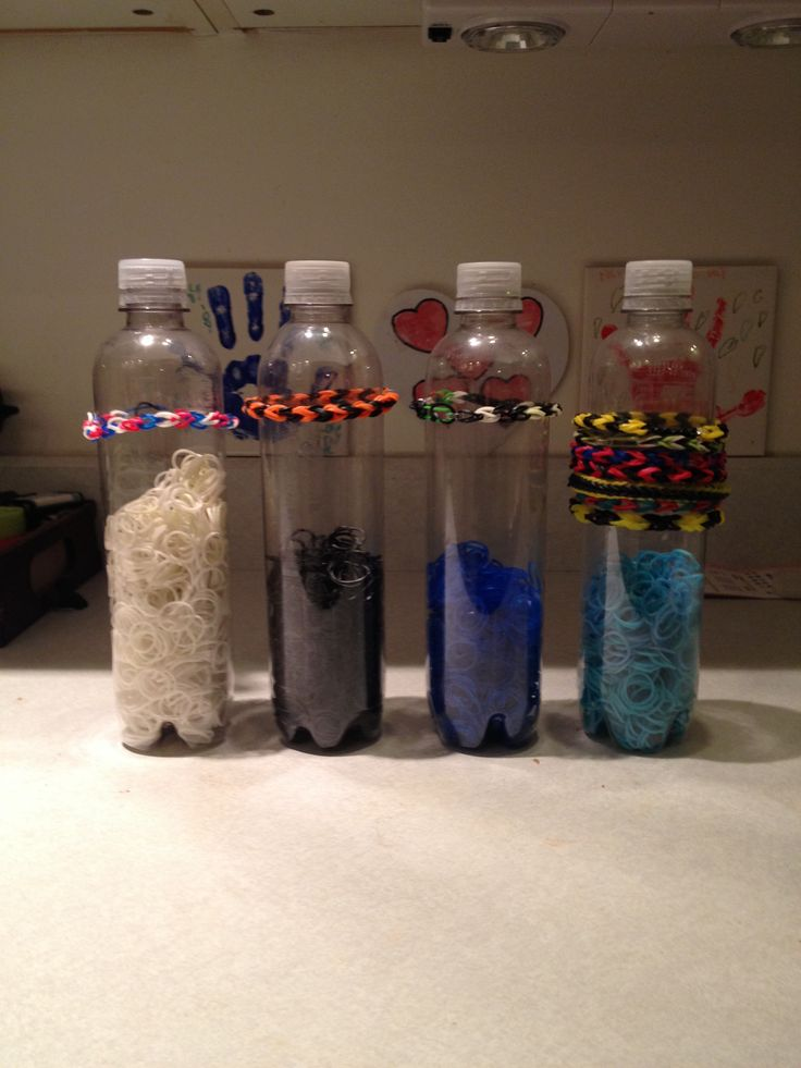 Rainbow looms!! Need a cheap storage container for all those rubber bands and for the bracelets. Here you go. I found sparkling water at the store in these cool bottles but really any plastic bottle will work. The labels pealed right off, then washed them out and let them dry for two days!