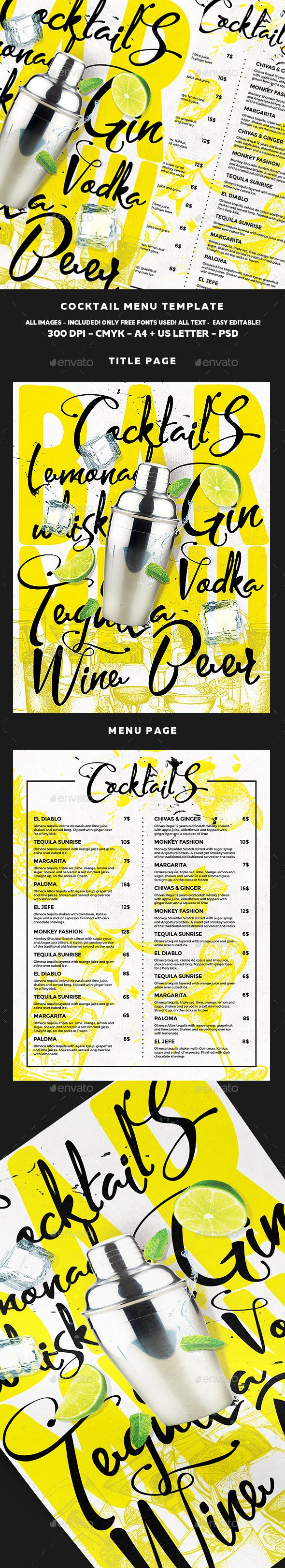 Cocktail Menu - Food Menus Print Templates