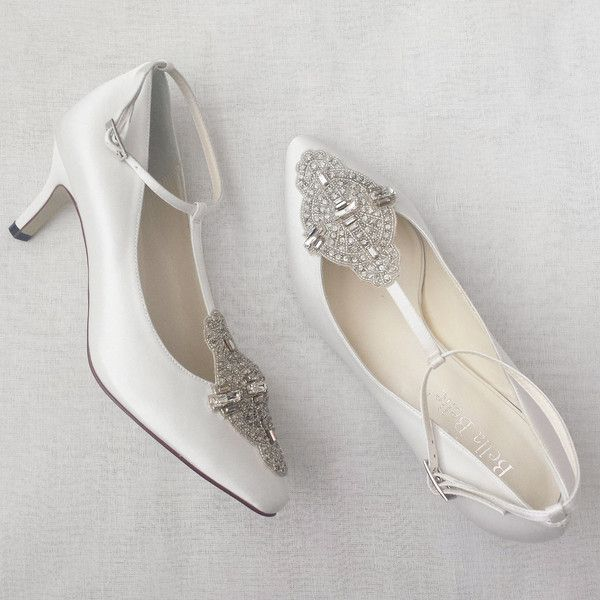 Items Similar To Art Deco White Or Ivory Wedding Shoes With Great Gatsby Crystal Applique T Strap Kitten Heel Silk Satin Bridal On Etsy