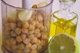 Houmous Recipe: Blend together Chickpeas, Lemon, Olive Oil and Garlic.