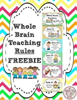 """Do you use Whole Brain Teaching in your classroom? Do you like the chevron print?  If you answered """"yes"""" to the above questions then this FREEBIE is for you! Included below are the 5 W.B.T. Rules with cute visual graphics for your students!RULES:1. Follow directions quickly2."""