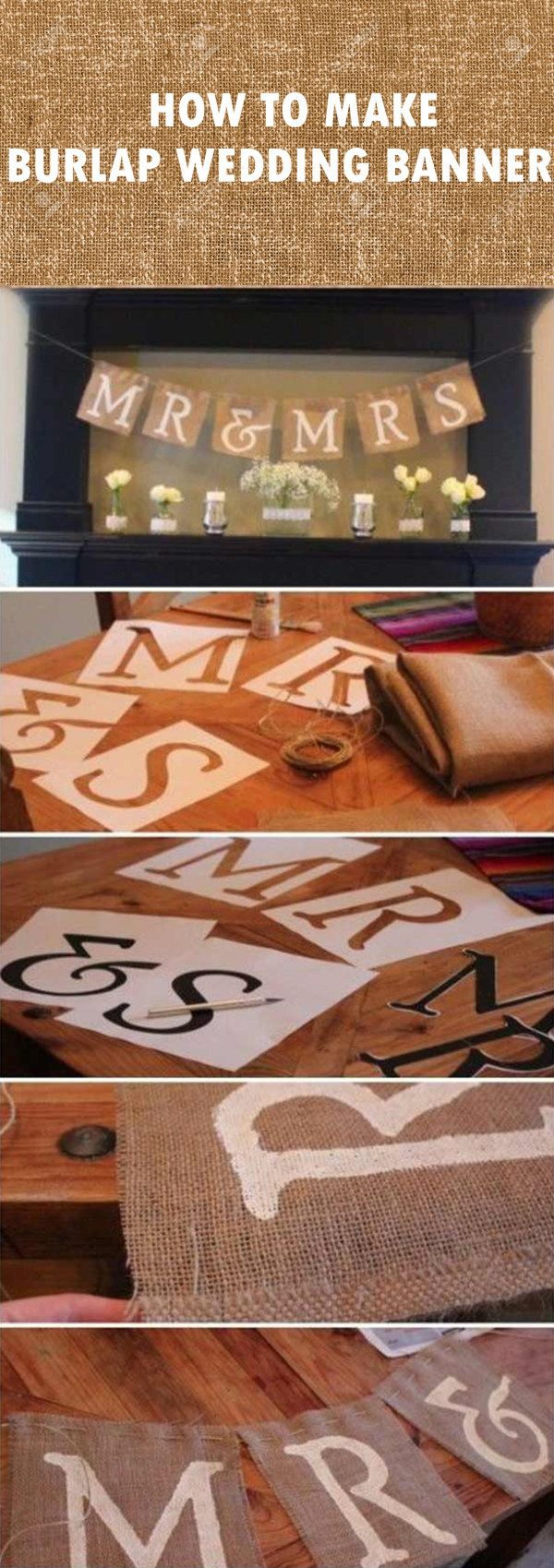 DIY burlap wedding banners for fall wedding