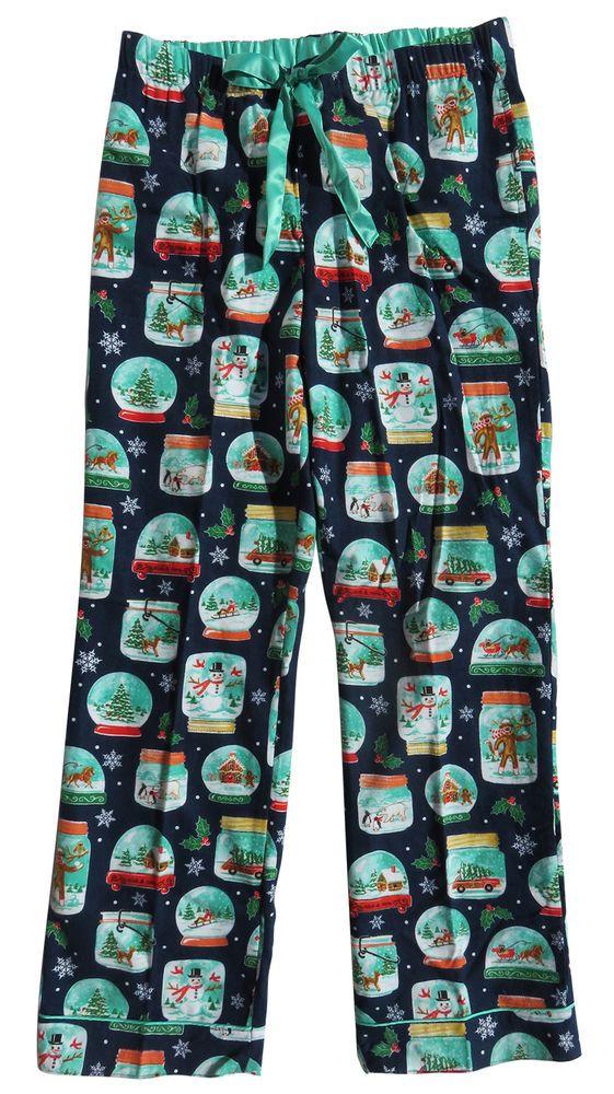 Nick & Nora Christmas Pajama Pants Sock Monkey Snowglobe Flannel Bottoms S…