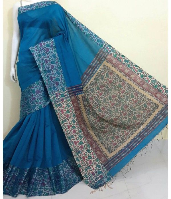 Blue Pure Handloom Kalamkari Cotton Silk Saree
