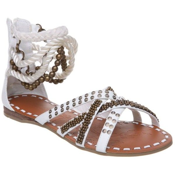 White nautical warrior roped flat sandal ($26) ❤ liked on Polyvore featuring shoes, sandals, women's footwear, women+shoes &amp boots, white flat sandals, flat shoes, nautical shoes, flat sandals and white flat shoes