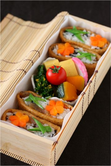 Japanese Bento of Inarizushi, Sushi-Rice Stuffed in Fried Tofu Pouches|カラフルいなり寿司弁当 by ivory_bell