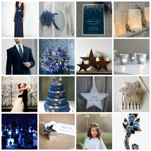 I like quite a lot of this! Star Themed Wedding Styling Inspiration and Moodboard