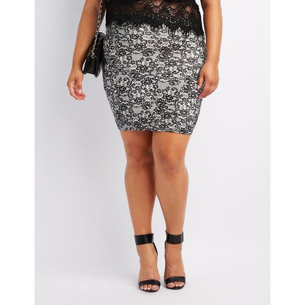 Charlotte Russe Lace Print Bodycon Mini Skirt ($5) ❤ liked on Polyvore featuring plus size women's fashion, plus size clothing, plus size skirts, plus size mini skirts, short pencil skirt, bodycon mini skirt, pencil skirt and bodycon skirt