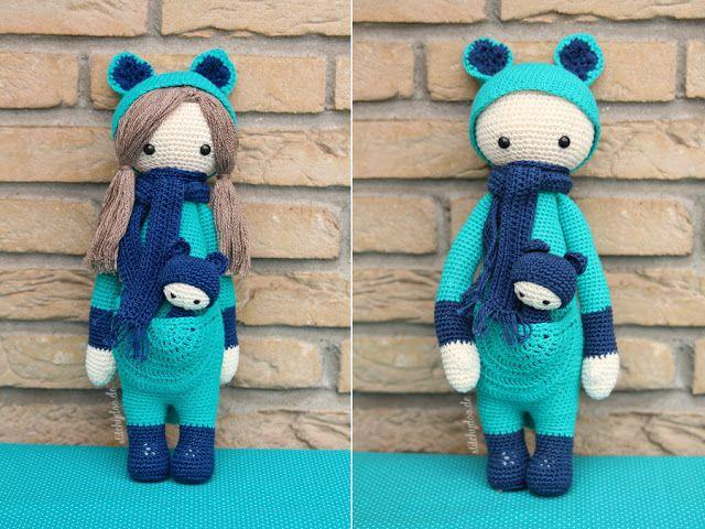 Kira, das Känguru von lalylala mit Haaren   Wie lange häkelt man wohl an einer solchen Puppe?