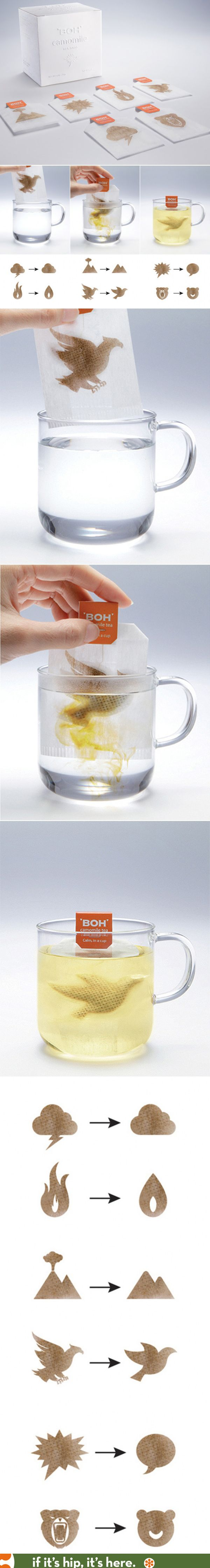 A clever way to market 'calm' for BOH Camomile tea bags.