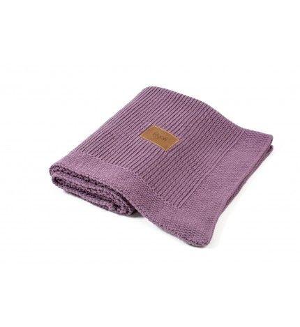 Kocyk tkany z bawełny organicznej Poofi fiołkowy