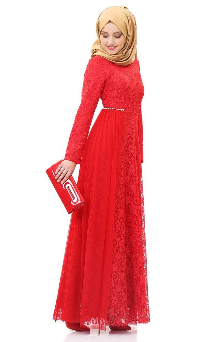 Dantelli Şifon Abiye Elbise SOM3095 Kırmızı