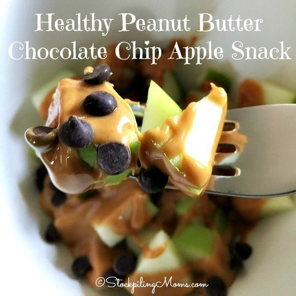 This clean eating, gluten free dessert recipe for Healthy Peanut Butter Chocolate Chip Apple Snack is great for those afternoon cravings or as a healthy breakfast option!