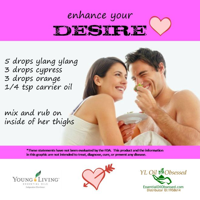 EssentialOilObsessed.com.  Ylang ylang, orange, cypress. Young living.  Increase sexual desire with essential oils.