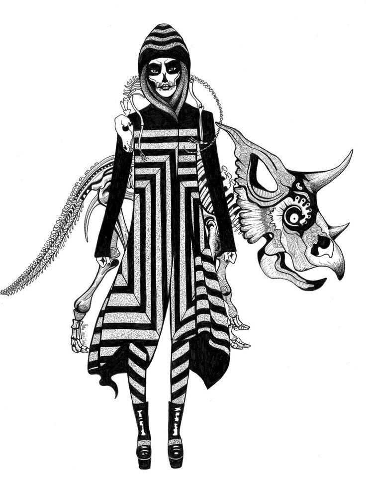 Kunst plakat // Limited edition art print // 'Skeleton Lady'by Ida Svenungsson