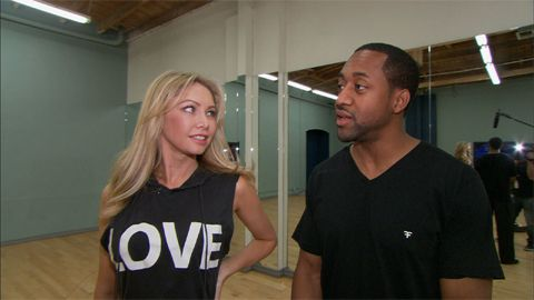"""Jaleel White and professional """"Dancing"""" partner Kym Johnson chat with Access correspondent Kit Hoover about learning the foxtrot. Why is this dance a bit harder to learn than others? Plus, what special gift does Jaleel surprise Kym with?"""