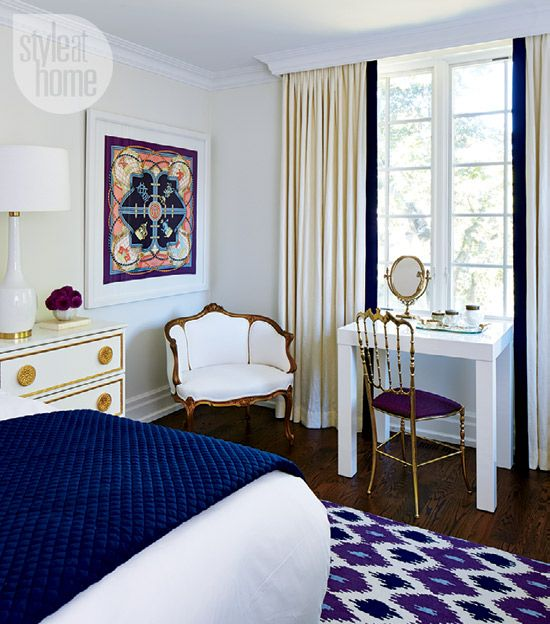 Navy Blue and Grape purple | Interior: Eclectic and exotic glamour - Style At Home design editor Jessica Waks