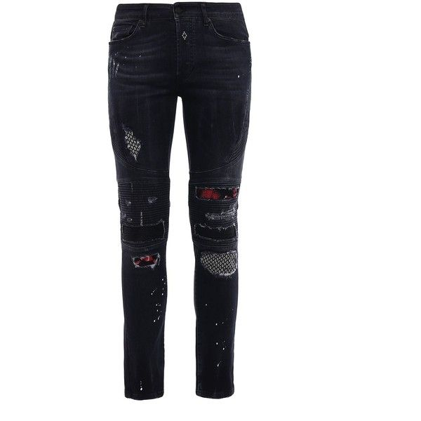 Ain Biker Slim Fit Jeans ($290) ❤ liked on Polyvore featuring men's fashion, men's clothing, men's jeans, dark grey, mens patched jeans, mens biker jeans, mens dark grey jeans, mens slim fit jeans and mens slim cut jeans