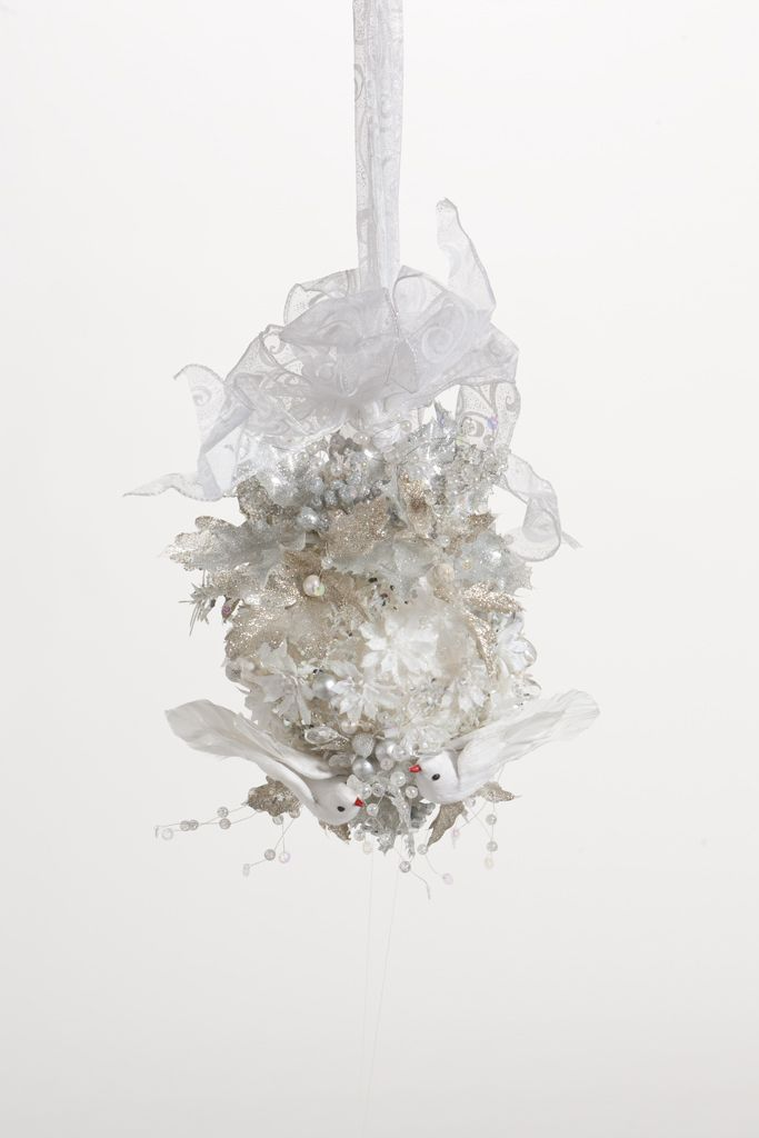 Wedding Ball Frosted With Crystal Sprays And White Flowers And
