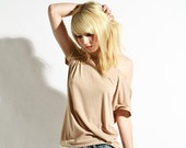 Oxford Slouch Tee - Beige Tunic Women's Blouse Jersey Shirt. $30.00, via Etsy.