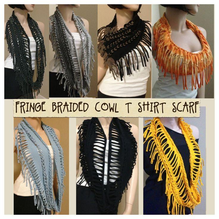 Now! fringe cowl braided infinity circle boho t shirt scarf necklace | DIY & Upcycling | Pinterest | Scarf necklace, Shirts and T shirt