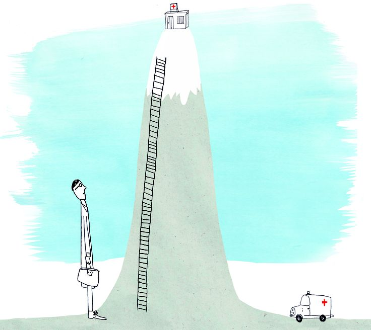 An illustration about healtcare in Bolivia, made for Nrc.Next.