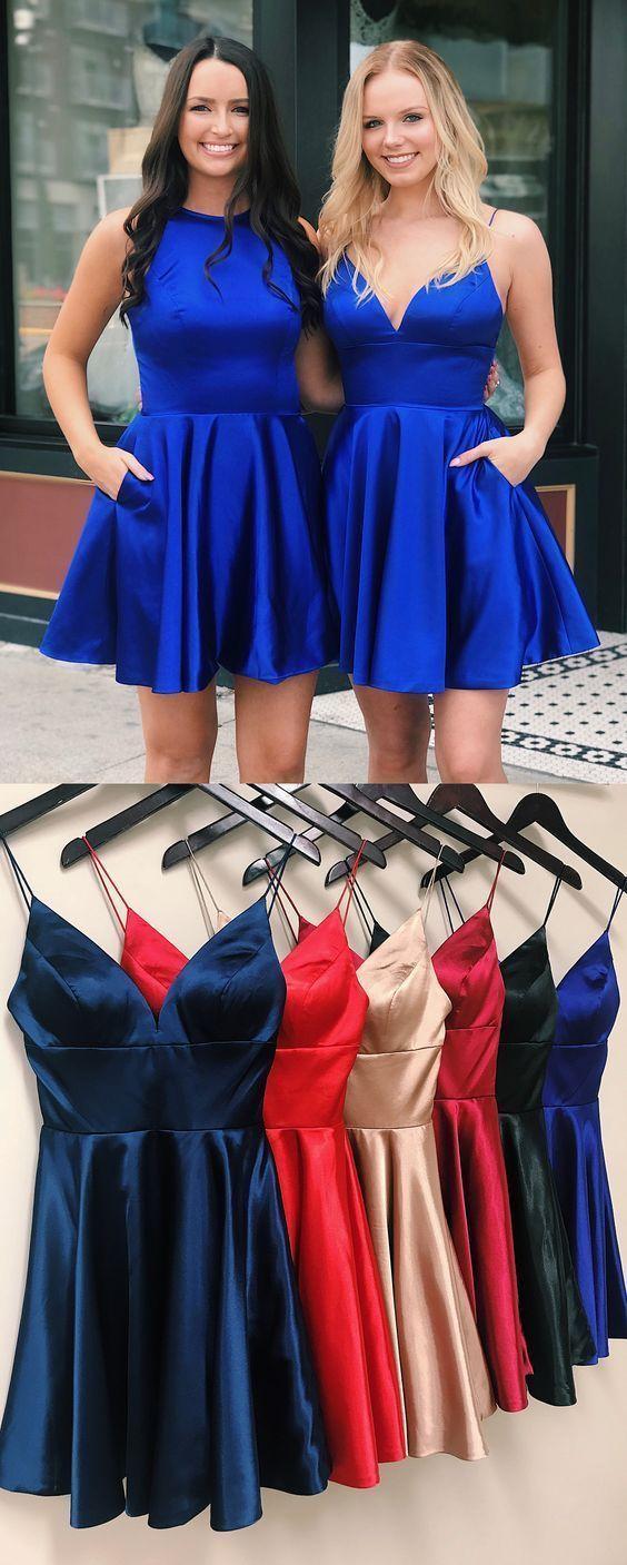 Cute aline spaghetti straps royal blue satin homecoming dress