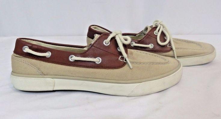 Lauren Ralph Lauren BRISTOL Canvas Women Shoes Size 7B Tan Brown Boat Shoes