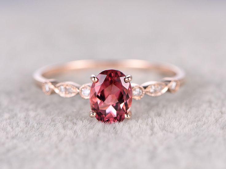 Natural Tourmaline Engagement ring,Diamond wedding band,14K Rose Gold,6x8mm Pink…